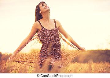 dourado, romanticos, sol, campo, pôr do sol, modelo, vestido
