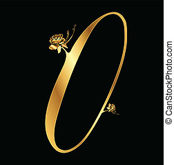 dourado, rosas, vetorial, número, 0