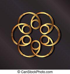 dourado, rosette, logo., vetorial, gráfico