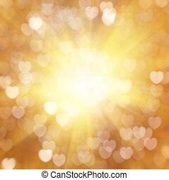 dourado, símbolo, bokeh, textura, coração