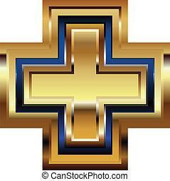 dourado, símbolo, crucifixos