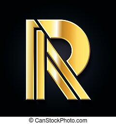 dourado, símbolo gráfico, vetorial, letra, r