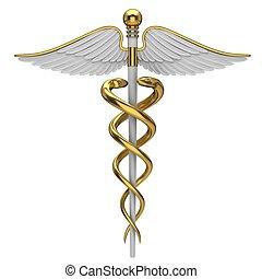 dourado, símbolo, médico, caduceus