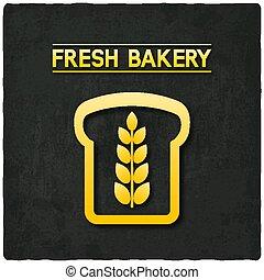 dourado, símbolo, panificadora, experiência preta, pão