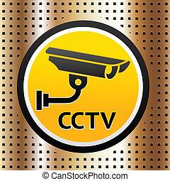 dourado, símbolo, vídeo, fundo, vigilância