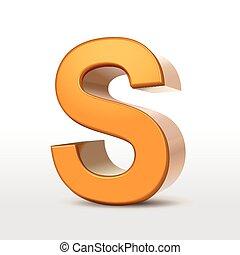 dourado, s, 3d, alfabeto