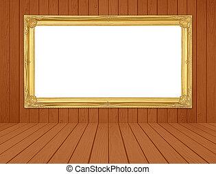 dourado, sala, chão, frame parede, madeira, branca, backgro