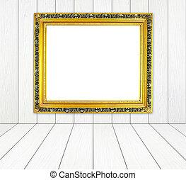 dourado, sala, chão, frame parede, madeira, em branco, branca