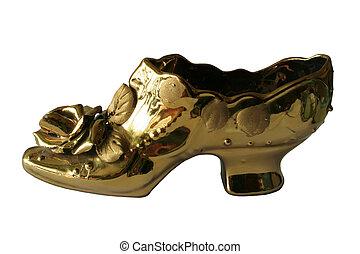 dourado, sapato