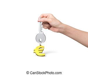 dourado, segurando, keyring, mão, forma, tecla, sinal, prata, euro