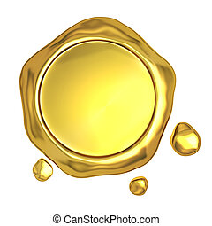 dourado, selo, cera