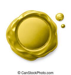 dourado, selo, isolado, branco