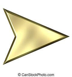 dourado, seta, 3d