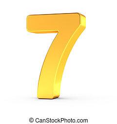 dourado, sete, polido, objeto, número, caminho cortante