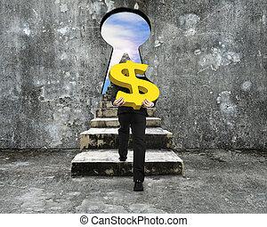 dourado, sinal dólar, concreto, carregar, buraco fechadura, escalando, direção, escadas, homem