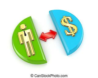 dourado, sinal dólar, seta vermelha, e, 3d, pequeno, person.