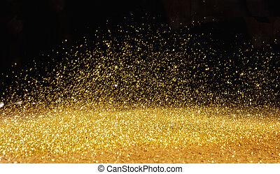 dourado, sobre, disperso, escuro, pó, fundo