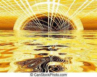 dourado, sol, com, um, reflexão, em, água