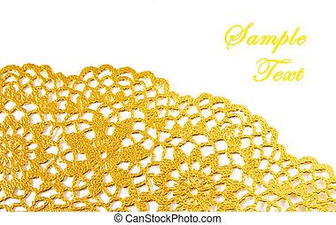 dourado, têxtil, borda, com, espaço cópia