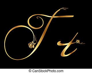 dourado, t, letra, rosas