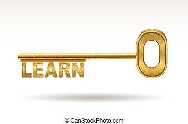 dourado, -, tecla, aprender