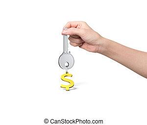 dourado, tecla, keyring, dólar, mão, forma, segurando, sinal, prata