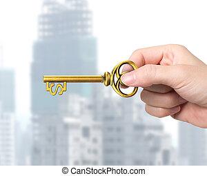 dourado, tecla, tesouro, dólar, mão, forma, segurando, sinal