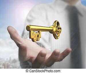 dourado, tesouro, dólar, forma, palma, key., segurando, homem