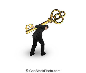 dourado, tesouro, sinal dólar, forma, carregar, tecla, homem negócios