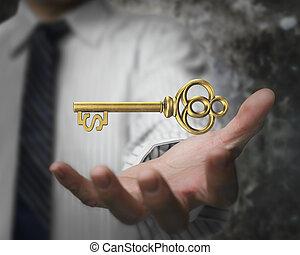 dourado, tesouro, sinal dólar, forma, palma, key., segurando, homem