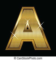 dourado, tipo, letra, fonte