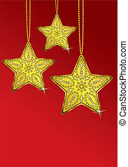 dourado, três, estrelas