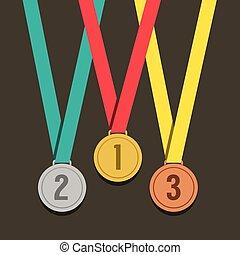 dourado, três, medalhas, número