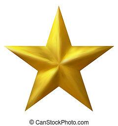 dourado, tradicional, natal, estrela, isolado, branco, fundo