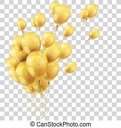 dourado, transparente, balões, grupo
