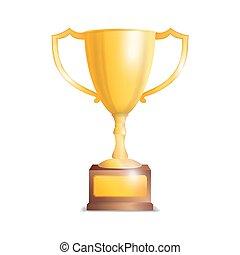 dourado, troféu, cup., isolado, branco, fundo, vetorial, ilustração