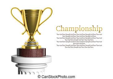 dourado, troféu, isolado, branco, com, copy-space