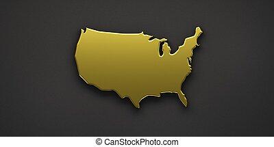 dourado, unidas, render, eua, mapa, ilustração, estados, 3d