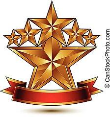 dourado, uso, fita, vector., teia, heraldic, gráfico, eps8, fascinante, estrelas, pentagonal, vetorial, vermelho, modelo, conceitual, curvado, ícone, claro, melhor, design.