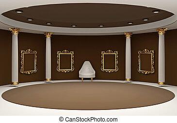 dourado, vazio, bordas, em, museu, interior, espaço