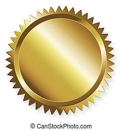 dourado, vazio, selo