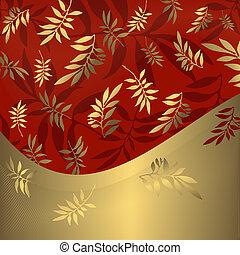 dourado, (vector), abstratos, floral, quadro, vermelho
