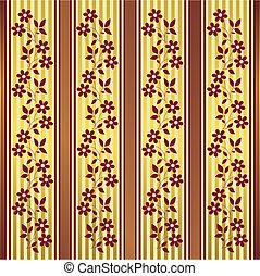 dourado, (vector), listras, fundo, floral, vermelho