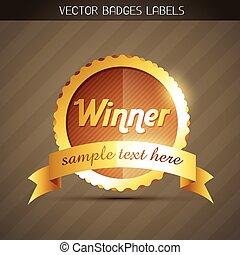 dourado, vencedor, etiqueta