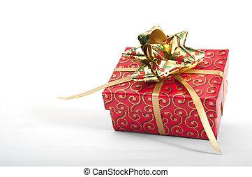 dourado, vermelho, giftbox, arco
