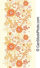 dourado, vertical, padrão, seamless, florals, fundo, borda