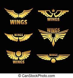 dourado, vetorial, asas