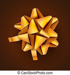 dourado, vetorial, card., presente, festivo, isolated., ilustração, arco, decoração, aniversário, ouro, feriado, fita, celebração