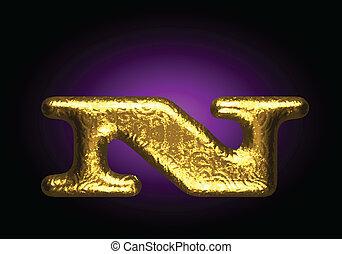 dourado, vetorial, carta n