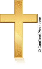 dourado, vetorial, crucifixos, ilustração